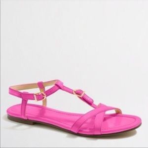 JCrew pink patent leather sandals. Size 10